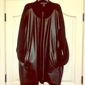 NWOT men's black 100% leather and wool coat - 4XT